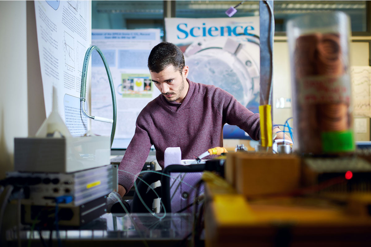 Researcher at work in his lab